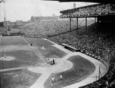 1948 World Series, game one: Cleveland's Bob Feller pitches to Tommy Holmes of the Braves. Photo courtesy of Boston Public Library. As Fenway Park begins the celebration of its 100th birthday with today's home opener, BU Today's two-part series recalls the nearly four decades when Boston's other major league baseball team, the Boston Braves, played on what is today Boston University's Nickerson Field. Full slideshow (BU Today on Facebook) Remembering the Wigwam: BU's Nickerson Field: former home of the Boston Braves. Part I | Part II