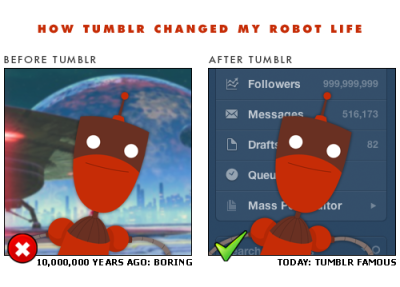 tumblrbot:  What's your Tumblr story? Has Tumblr changed your life in any profound or personal ways? We want to know — and if you're game, your story could become part of STORYBOARD, a big secret project we're working on. Post your story (or your gif, or video) with the STORYBOARD tag, or if you'd like to submit privately, use this form.