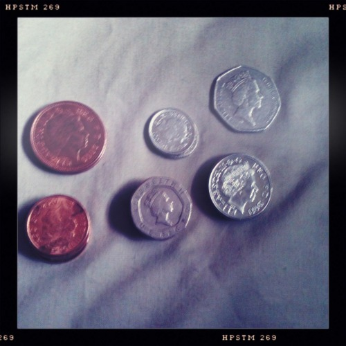 4/12 - Coins are dumb. Especially anything under 20p. I kinda like the 1 & 2 Pound coins, though. You get them as change and forget you even have real money still! It's like money that time travels back to you later on! Ta-dah! They still call it a penny, but everything else is a pence.
