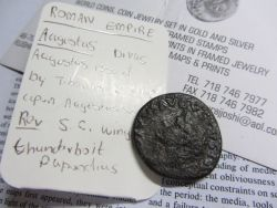 "thegullible:  My brother bought me a roman coin from a coin dealer in NYC.Today I showed it to my mediterranean history professor, he exclaimed 'well, Jesus might have bought chicken rice with that coin!' Later, he sent me the following email: Hi Serene, The bit that I described to you as a 'shield' is actually what is called a 'fulmen' (a winged fulmen, to be precise) - the bundled thunderbolts of Jupiter/Zeus. This device was regularly depicted on legionnaires shields going back to republican times, and that is how I initially recognized it, but without catching its larger significance. As I read the coin now, I believe that the coin was intended to be a pious commemoration of Tiberius' adopted father and predecessor, Octavius Augustus. After Octavian's death in 14 AD, Tiberius decided to follow Greek tradition a la Alexander and the Diadochoi by deifying his predecessor, the first Roman emperor, as ""Augustus Divus"" - the Divine Augustus ( 'divus' denoting  'a mortal become a god').  The fulmen would have reinforced the association between Augustus and the 'emperor of the Gods', Jupiter.  This means, though, that 14 AD would be the very earliest that this coin could have been minted since he could not become a divus until after death.  The initials S.C. stand for ""senatus consulto"" - by decree of the Senate - and is a standard marking for Roman bronze coins. Anyway - thanks for the puzzle, that was fun!  Now, reluctantly, I must get back to real work….sigh. Best, Jack Fairey"