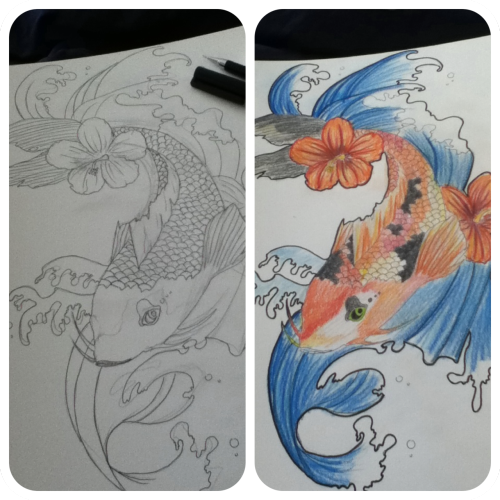 Doodling before and after. Koi fish with colored pencils :)