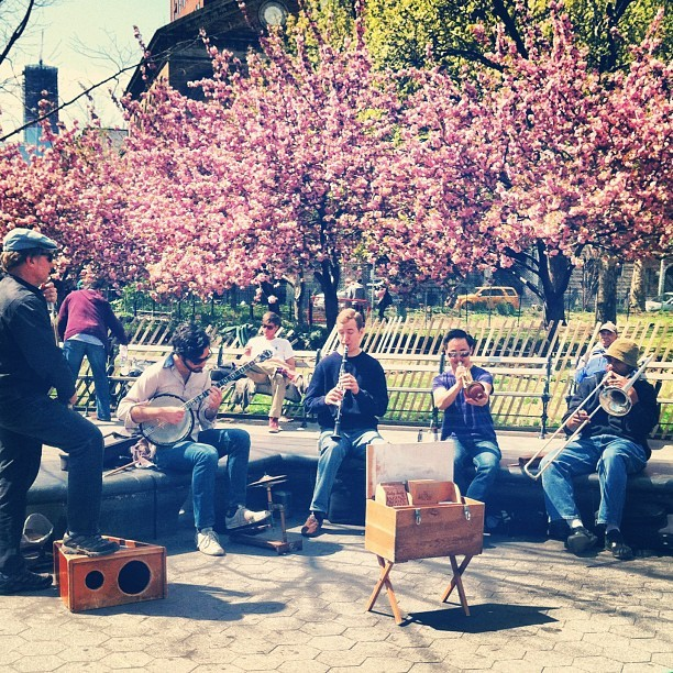 #bklyn jazz band on a gorgeous spring day! I <3 this city so hard! #nyc (Taken with Instagram at Washington Square Park)