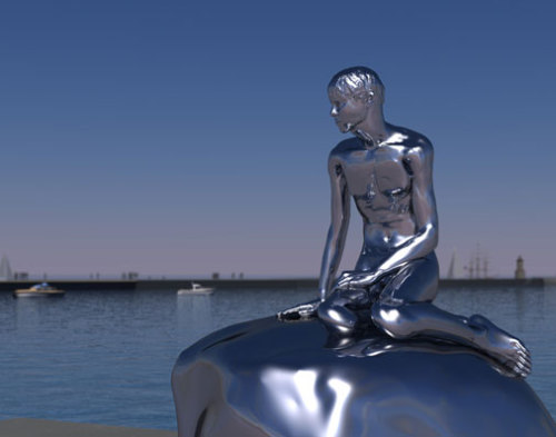 condenasttraveler:  Denmark's Little Mermaid Gets a New Gentleman Friend    okay i am super super excited about this because 1. Elmgreen & Dragset !!  they are so good.  2. this sculpture, right, his skin and perching-stone are both stainless steel but once an hour he blinks for a split second how creepy and magical and amazing is that