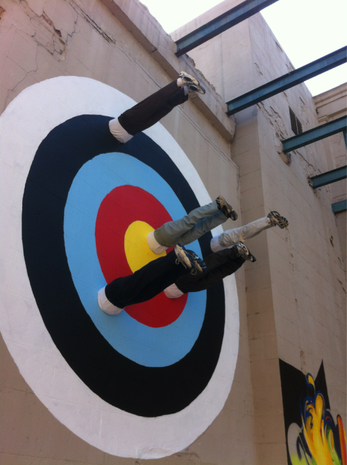 rvastreetart:  Mark Jenkins' human dartboard is complete. You have to see it up close to believe it. So damn cool…