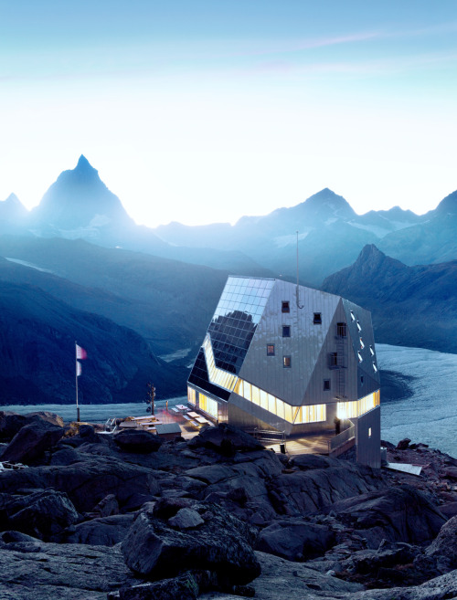 enroutemagazine:  We take a shine to the Monte-Rosa-Hütte in the Swiss Alps.Un chalet suisse nouveau genre: la cabane du mont Rose. Photo by / par Lorne Bridgman. See more from our April 2012 issue.Découvrez le reste de notre numéro d'avril 2012.