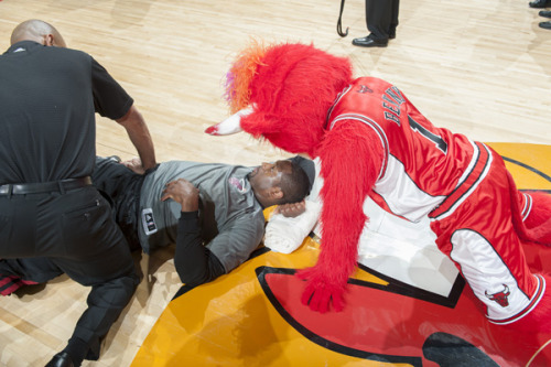 haha Benny the Bull taunting D. Wade before the game last night!!