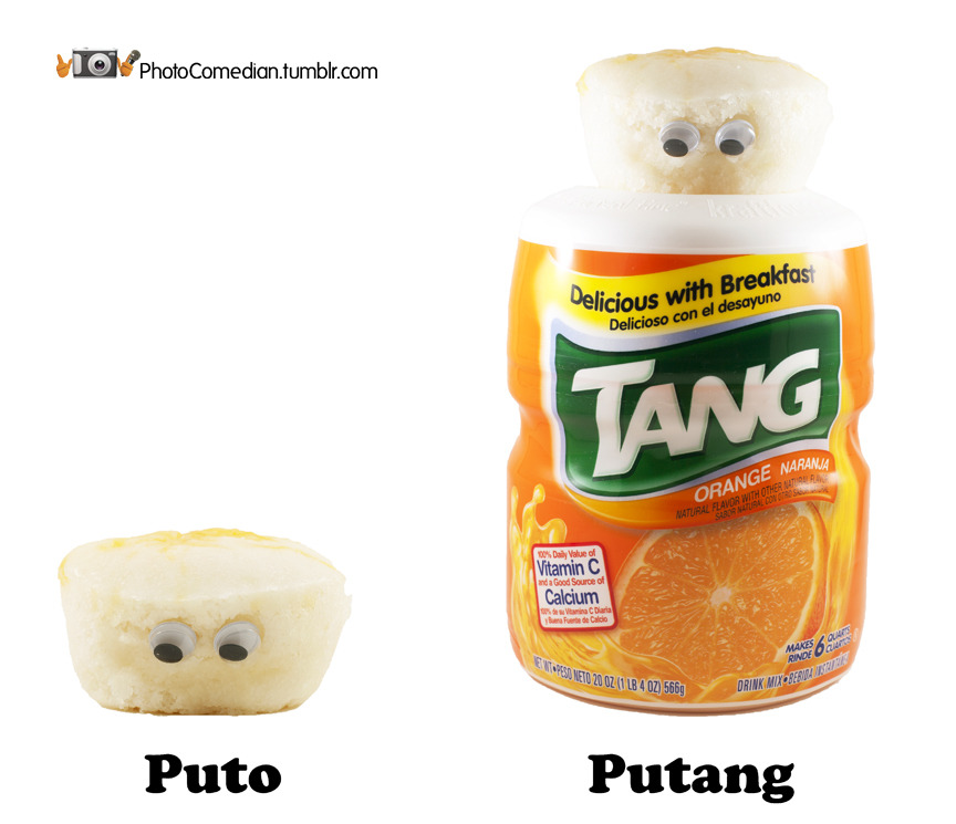 Puto + Tang = Putang. Astronauts love it! Here's a 1966 commercial of astronauts enjoying it: http://www.youtube.com/watch?v=TWghCdIqedA Puto is a Filipino steamed rice cake often eaten as dessert or breakfast. It is also a derogatory term in Spanish for gay males or prostitutes, but I assure you these puto are not prostitutes. These photos are what happens when you buy too much puto and have too much time. Enjoy and share because sharing is nice, and puto is rice.