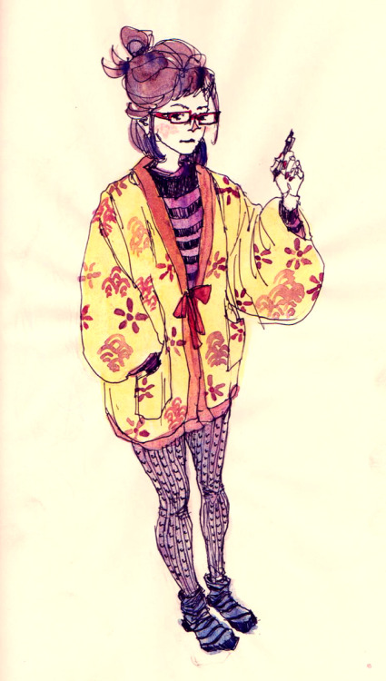 fuckyeahwatercolor:  by: gogolotus I like drawing the outfit I'm wearing at the moment when I can't think of anything else to doodle. Here I'm wearing a traditional Japanese hanten: a casual winter overcoat.