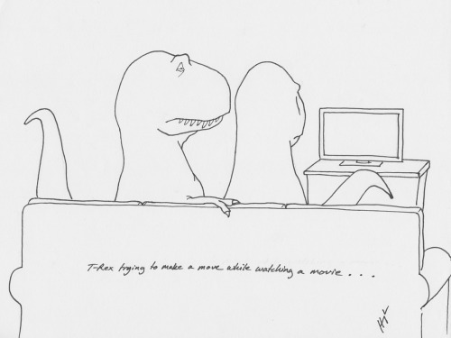 T-Rex Trying to Make a Move While Watching a Movie… #TRexTrying