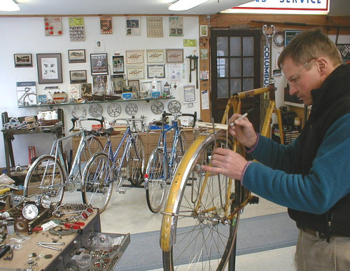 Vintage Randonneuse Restoration in progress at J P Weigle shop. by jp weigle on Flickr.