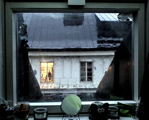 Looking out into the cold, grey, Swedish evening.