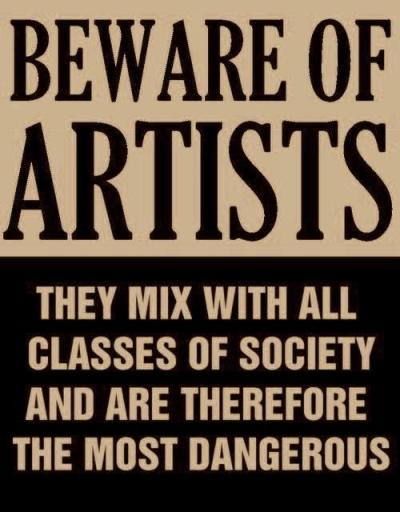 tamburina:  Actual poster issued by Senator Joe McCarthy in 1950's, at the height of the Red Scare. All artists were suspect.
