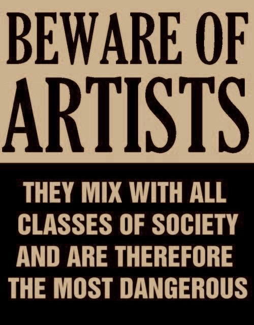 Actual poster issued by Senator Joe Mccarthy in 1950s, at height of the red scare. All artists were suspect.