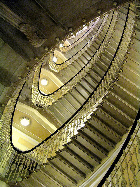 robertintoronto:  ellipse on Flickr. Grand staircase, The Bristol Palace Hotel, Genoa, Italy photographer: Robert in Toronto copyright: Robert Wallace Please do not repost without including credits and/or links.