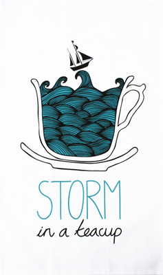STORM IN A TEACUP TEA TOWELA little bit like a tempest in a teapot (but not as scary), this delightful idiom tea towel will have you whipping up storm in your kitchen before you know it! Don't forget to bring a life jacket and a whistle... We have commissioned the supremely talented HelloWilson (aka designer/illustrator Rachel Wilson) to design a tea towel for our ToDryFor range. We think she included subliminal instructions for us to put the kettle on (as we're now chain-drinking tea like there's no tomorrow)… £9.99 www.facebook.com/junkfunkshop