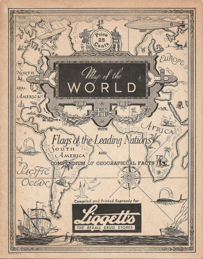 Map of the World; compiled and printed expressly for Liggett's, The Rexall Drug Stores. Cover cartography by George Annand; inside map by C.S. Hammond & Company, NY.