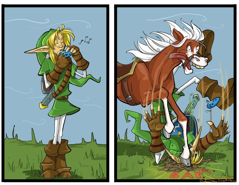 ikuroda:  I assume this is the first time Link played Epona's song after 7 years. Maybe a bit over excited Epona? o-o     XDDD