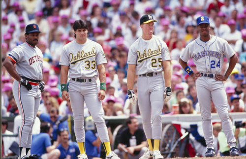 instinctivepath:  Left to right: Cecil Fielder, Jose Canseco, Mark McGwire, and Ken Griffey, Jr at the 1990 All-Star Game. It was around this time I started collecting baseball cards and Griffey was my favorite baseball player.