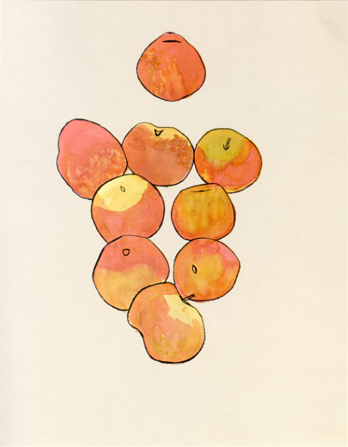 hanselfrombasel:  hansel's inspiration of the day: apples, by ellsworth kelly. though he is known for abstract, hard edge paintings, this gem shows a different side of kelly.   I saw the Ellsworth Kelly exhibit at LACMA and I was pretty happy about that.