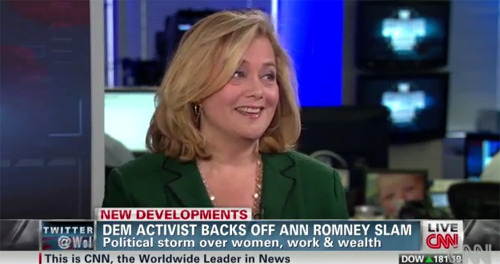 [Hilary] Rosen's point was that Ann Romney, who has a husband who is wealthier than Satan's crooked hedge fund manager, has not exactly been out there bussing tables or punching in for a welding shift.  So, if you look at it properly, by which I mean listening to the words that were coming out of Rosen's mouth and paying attention to when they did so, I believe she's calling Mrs. Romney's economic street-savvy into question because Romney is an extremely wealthy woman who is just as out-of-touch as her staggeringly wealthy husband, not taking a swipe at her for choosing to be a stay-at-home mom.  - Ali Davis  Feminist Friday: Here's Looking at You, Kid Did you know Hilary used to date Jane Lynch? True story.