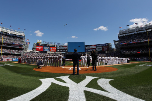 stadium-love-:  Two U.S. Navy F-18 Super Hornet Jets fly over Yankee Stadium as the both the New York Yankees and the Los Angeles Angels line the baselines during home opener against the Los Angeles Angels on April 13, 2012 in the Bronx borough of New York City.  Photo by Nick Laham/Getty Images  I know one of the pilots that did the fly by! How cool is that? Nora - you do too.