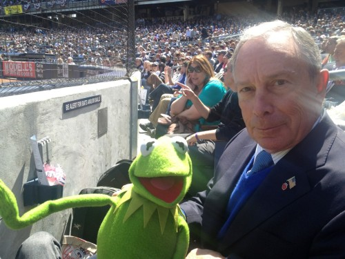 nycgov:  Mayor Bloomberg and Kermit the Frog enjoying the Yankees' first home game of the season.   What an odd pair!