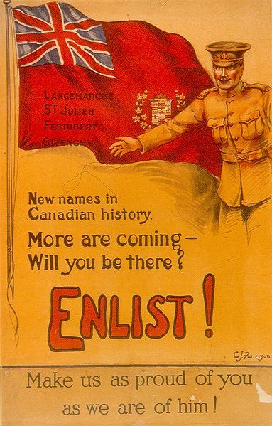 fyeah-history:  Canadian poster encouraging men to enlist, c.1914-1918