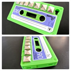 #neon #green #cassette #tape #vintage #silicone #phonecase #iphone4 #iphone4s #studded #studs #metal #etsy #moonshineapparel moonshineapparel.etsy.com on sale meow (Taken with instagram)