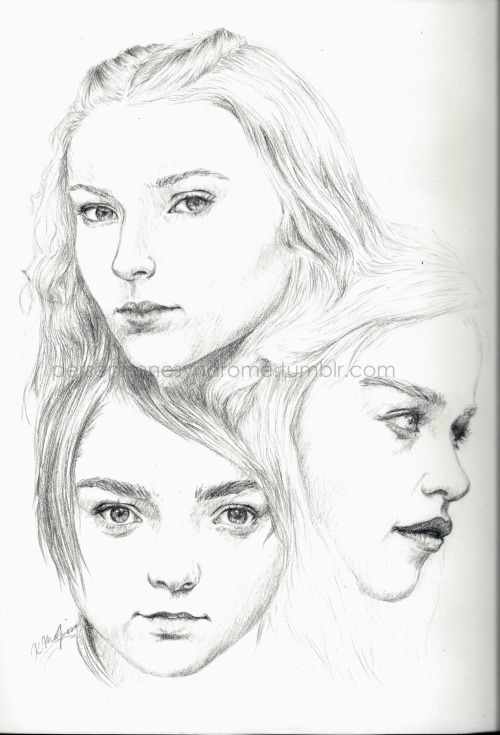 persephonesyndrome:  Sansa, Daenerys, and Arya from Game of Thrones. it doesn't really look like them but shhhh