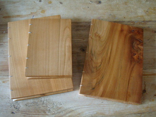A5 and A6 cherry and elm wood books available at http://www.bayattic.com/julie-durkacz-b132 200gsm recycled paper.