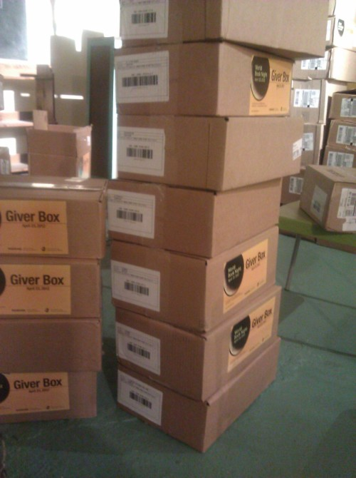 There is a somewhat crazy number of boxes in our basement right now due to World Book Night, which is suddenly almost here! (Don't worry, they'll be stashed behind the curtains before tonight's event.)