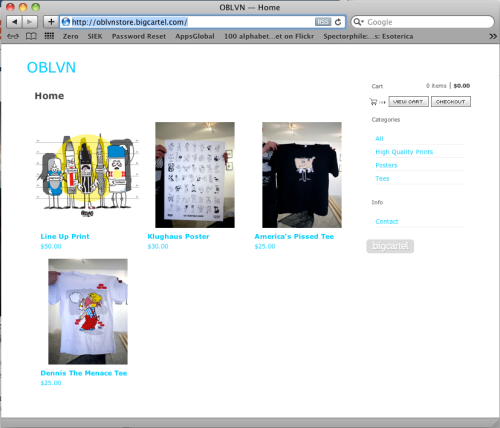 New Oblvn Store on BigCartel… Check it out! Tees, Posters, Prints…