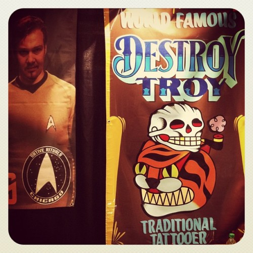 Hand painted banner by @larock1shot #chicago #tattoo convention. #starTrek #lol #iphone4only  (Taken with Instagram at Crowne Plaza Hotel & Conference Center)