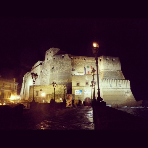 americascup:  Castello dell'Ovo at night! This castle is just in front of the hotel where many teams are staying.  (Taken with instagram)