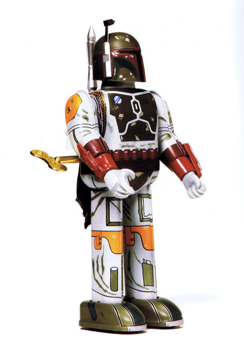 heyoscarwilde:  Wind me up. Japanese Boba Fett tin wind up toy circa 1997 :: scanned from Star Wars: 1000 Collectibles :: Abrams Books :: 2008