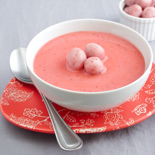gastrogirl:  chilled strawberry soup with strawberry chocolate sticky rice balls.  My recipe for strawberry soup is as follows:   - Scoop a bowl of strawberry ice cream   - Leave it out for an hour  voilà !