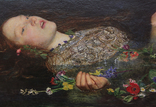 Sir John Everett Millais, Ophelia (detail), 1852.