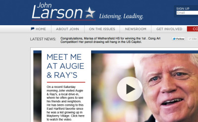 The site for Congressman John Larson, the House Democratic Caucus Chair, is ready. Combine the site with the video and brand - this is one of our true full treatments. All 4 of us really enjoyed this experience. Visit the site.