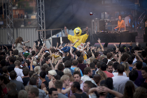battleroyal3:  Bird, crowd-surfing and Annie Mac by Chrisinet on Flickr.