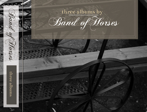 """3 albums"" by Band of Horses tribute box set including a reinterpretation of the artwork for their 3 albums. All photography and layout by Stefan Obusan."