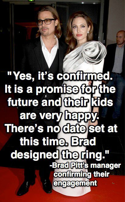 Yes! Brad Pitt and Angelina Jolie are engaged! Get all the deets here. http://eonli.ne/HGtu0a