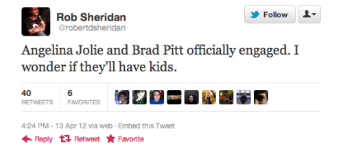 Funniest Tweets about Brad and Angelina's Engagement Brad and Angelina are engaged! Here's a gallery of the funniest tweets about it:
