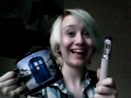 "purplehairedtwrecks:  My birthday presents came today!! Sonic Screwdriver and Disappearing Tardis Mug! Courtesy of my Mom.  Funny thing: I needed a regular screwdriver to put together my sonic screwdriver.  Also, on the bottom of my mug it says, ""For best results, use other side."" I watch Doctor Who, but I can't comprehend how to drink from a cup??"