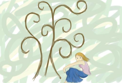 a picture I drew of a realistic girl sitting by an abstract tree