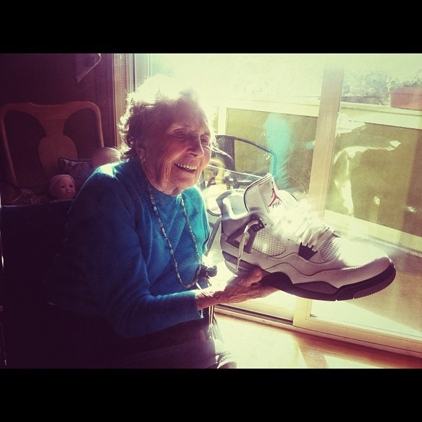 She was 91 years old when she got her first pair…. #grammystunting (Taken with instagram)