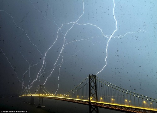 climateadaptation:  San Franapocalypse. wbotd:  Lightning hitting the Bay Bridge last night