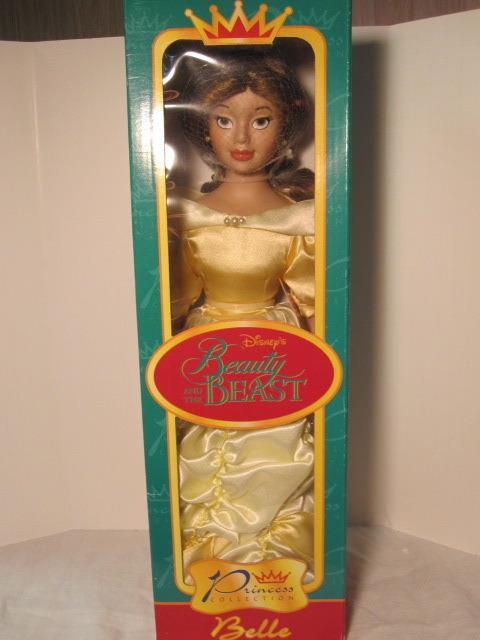 "Disney's Belle 16"" porcelain doll. Brand new in box and never opened. All zip ties in place. Box a bit worse for wear but intact.  $20.00 + shipping. This same item has been listed by other sellers on eBay for $35+. Please email JandT.DigitalYardSale@gmail.com to purchase or to ask questions."