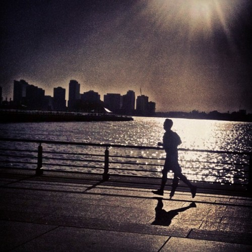 Run, Forest. Run! #newyork #nyc #ny #newyorkcity #westsidehighway #hudsonriverpark #runner #sunset #instagram #iphone #photography  (Taken with Instagram at Hudson River Park - NYC)