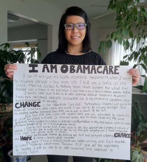 "tumblrdems:  Erica's health care story: The Affordable Care Act gave her coverage ""when nobody else would"" through the Pre-existing Condition Insurance Plan. She was able to get the surgery and rehab treatment she needed, and she's doing okay now. What's your health care story?"