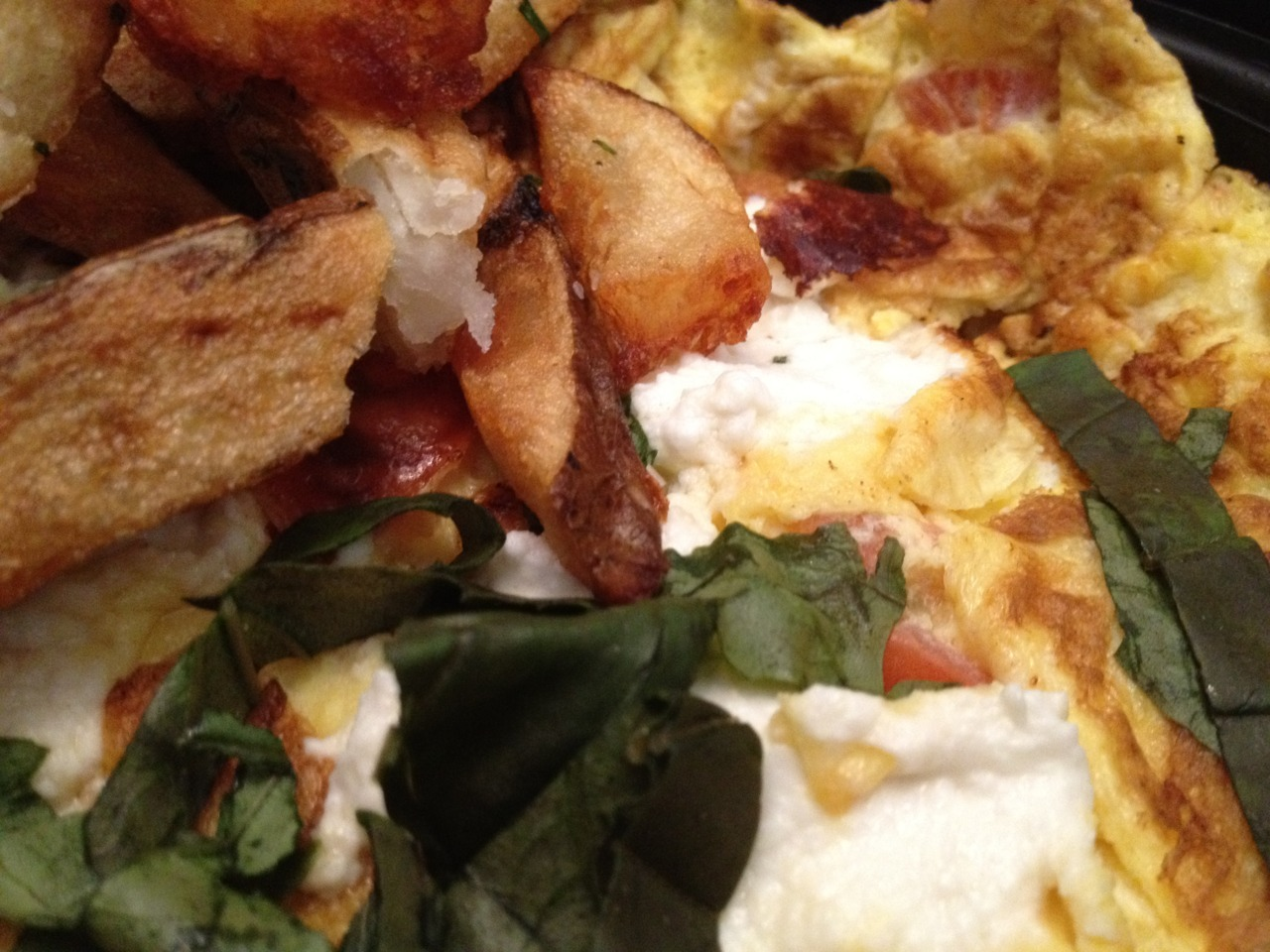 Goat Cheese Frittata and French Fries at Sunburst Espresso Bar, East Village, NYC